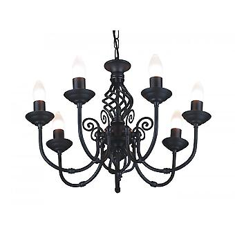 THLC Malaga Classic 7 Light Ceiling Pendant Light In Black Finish