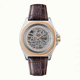 Ingersoll The Orville Automatic Silver Skeleton Dial Brown Leather Strap Men-apos;s Watch I09301B