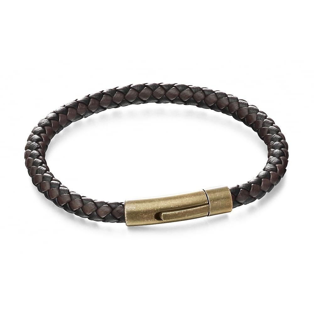 Fred Bennett Black & Brown Leather Woven Bracelet B5061