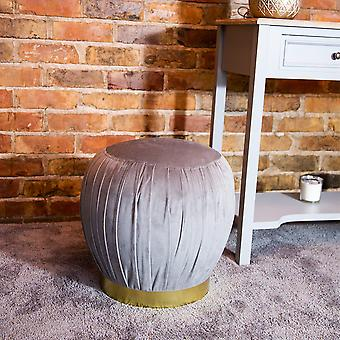 Charles Bentley Round Pleated Velvet Footrest/Footstool/Pouffe/Dressing Table Stool with Gold Base Grey