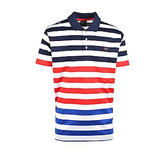 Paul & Shark Paul And Shark Polo Shirt White Blue Multi Stripe