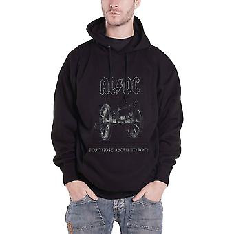 AC/DC Hoodie For Those About To Rock band logo new Official Mens Black Pullover