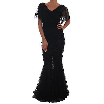 Dolce & Gabbana negru teaca flare rochie maxi lung