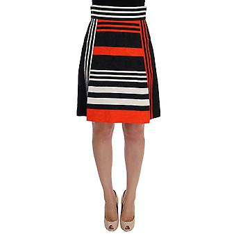 Dolce & Gabbana Black Orange Striped Brocade Skirt