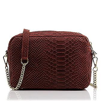 FIRENZE ARTEGIANI Real Leather Women's Bag. Woman's handbag genuine leather engraved lacquered snake. Hand bag. Shoulder bag Made in ITALY. REAL ITALIAN PELLE 22x14x8 cm. Color: GRANATO