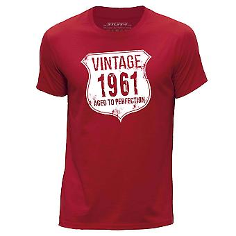 STUFF4 Hombres's Round Neck Camiseta/ Vintage Born In 1961/Red