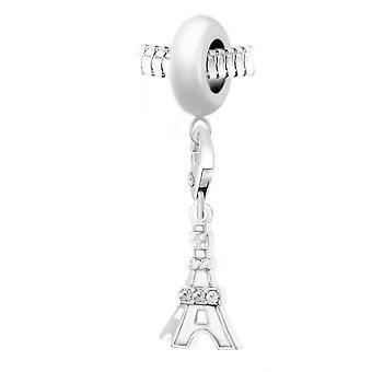 Charm perle Tour Eiffel blanche orn� de cristaux Swarovski par SC Crystal Paris� BEA0044+CH0186-argent