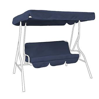 Water Resistant 3 Seater Replacement Canopy & Seat Pad ONLY for Swing Seat/Garden Hammock in Navy Blue