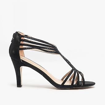 Lotus Nicole Ladies Heeled Sandals Black/diamante