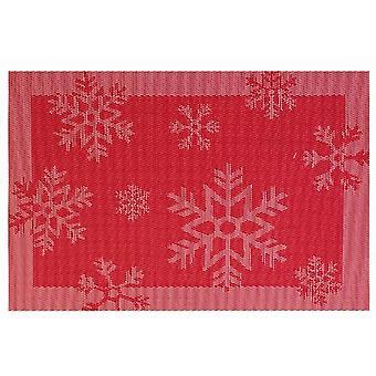 Jacquard Place Mat Red Snowflake