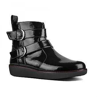 FitFlop Laila Double Buckle Ladies Patent Ankle Boots Black
