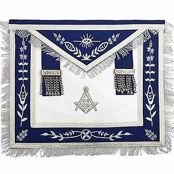 Masonic blue lodge g master mason silver machine embroidery freemasons apron