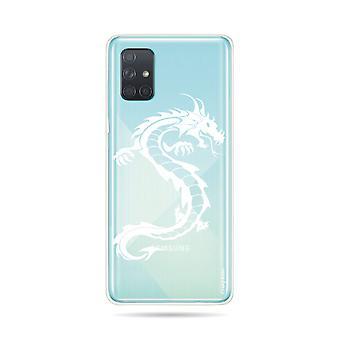 Runko Samsung Galaxy A71 Pehmeä Lohikäärme Valkoinen