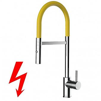 Niederdruck Kitchen Single-lever Sink Mixer With Yellow High Swivel Spout And 2 Jets Spray Shower - 236
