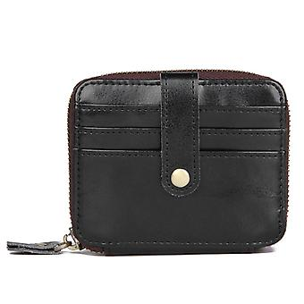 Card holder wallet with RFID protection - genuine leather - black