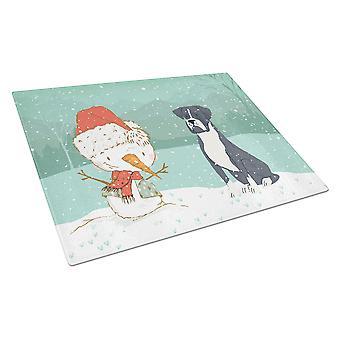 Musta nyrkkeilijä ja lumiukko joululasi leikkuulauta suuri