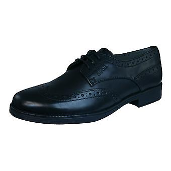 Geox J Agata C Boys Leather Brogues / Shoes - Black