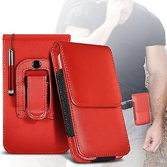 (Red) Case For Xiaomi iMi 4c PU Leather Belt Clip Pouch Holster Xiaomi iMi 4c Cover By i-Tronixs