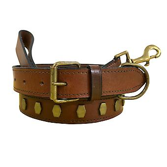 Bradley crompton genuine leather matching pair dog collar and lead set bcdc9tanbrown