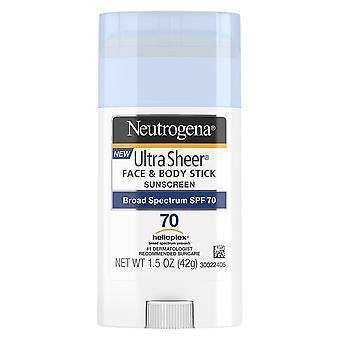Neutrogena ultrasheer ansikte & body stick solskyddsmedel, spf 70, 1,5 oz
