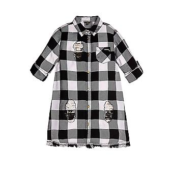 Guess Girls' Maxi Check Shirt With Abrasions