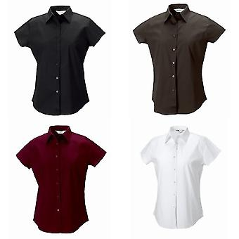 Russell Collection Ladies/Womens Cap Sleeve Easy Care Fitted Shirt