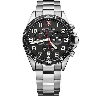 Victorinox Swiss Army FieldForce Chronograph Silver Steel Negro Dial Cuarzo Hombres Reloj 241855