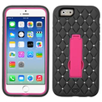 Asmyna Symbiosis Stand Protector Case pour Apple iPhone 6/6S - Hot Pink/Black