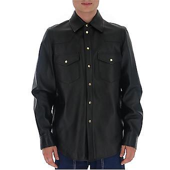 Gucci 624736xnalj1000 Men's Black Leather Shirt