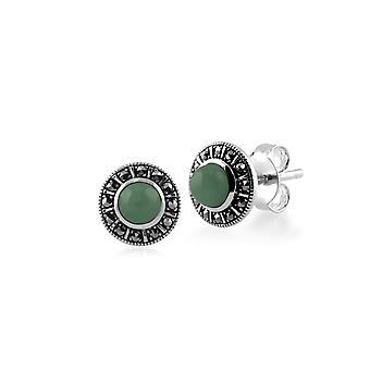 Art Deco Style Round Green Jade & Marcasite Halo Stud Earrings in 925 Sterling Silver 214E850401925
