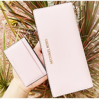 Michael kors jet set large carryall card case bifold wallet clutch blossom pink