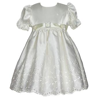 Girls Ivory Satin Dress With Cap - Occassion, Christening, Baptism