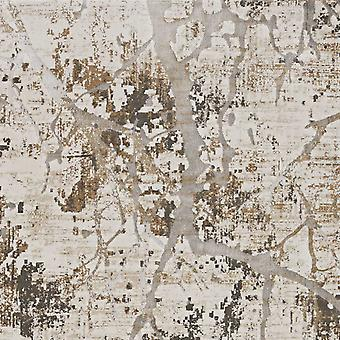 3' x 5' Ivory or Gold Abstract Viscose Area Rug
