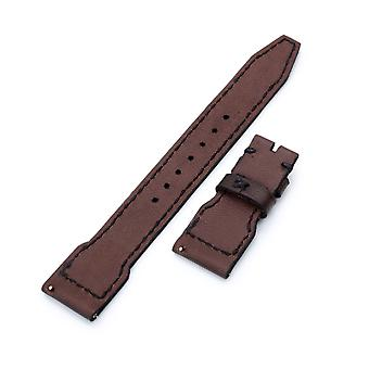 Strapcode calf leather watch strap 22mm gunny x mt dark brown handmade for iwc big pilot quick release leather watch strap