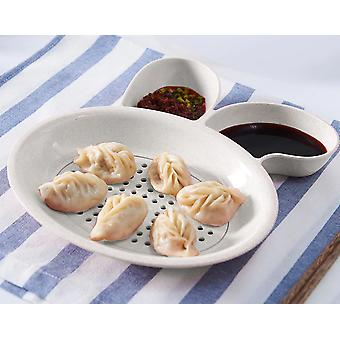 Double Layer Dumpling Plate - Creative Vinegar Dish Dipping Bowl, Fruit