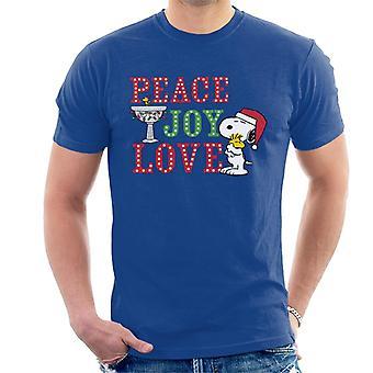 Peanuts Snoopy Holding Woodstock Peace Joy Love Miehet's T-paita
