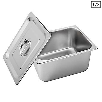 SOGA Gastronorm GN Pan Full Size 1/2 GN Pan 20cm Deep Stainless Steel Tray With Lid