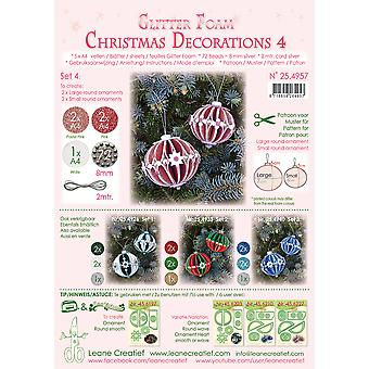 Leane Creatief Glitter Foam Christmas Decorations A4 Set 4