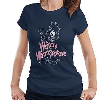 Woody Woodpecker Pink Logo Women's T-Shirt