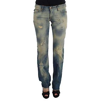 Blue Wash Cotton Slim Fit Bootcut Jeans