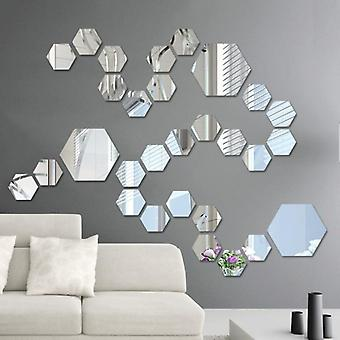 Acrylic Mirror Wall Stickers Self Adhesive Removable Hexagonal Decorative Mirror Sheet For Living Room & Bedroom Decor