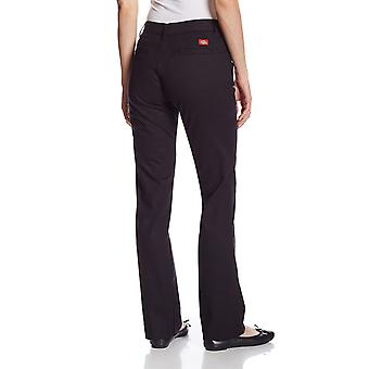 Dickies Women's Curvy Straight Leg Stretch Twill Pant, Black, 10 Regular