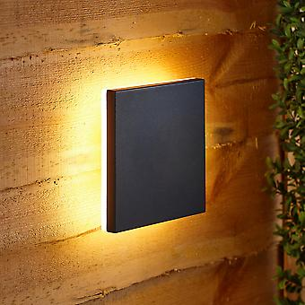 Modern Square Eclipse Black Outdoor Wall Light Integrated LED IP54 Garden Patio