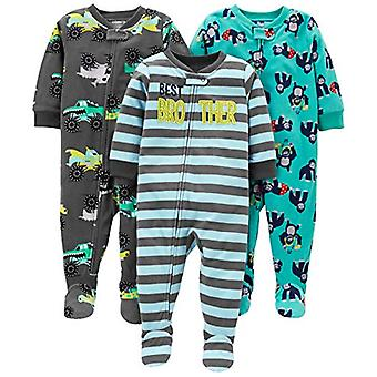 Simple Joys by Carter's Boys' Toddler 3-Pack Loose Fit Flame Resistant Fleece Footed Pajamas, Brother/Trucks/Gorillas, 3T