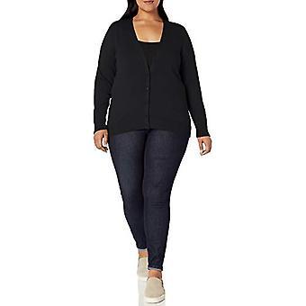 Essentials Women&s Plus Size Lekki sweter z kardiganem Vee, czarny, 1X
