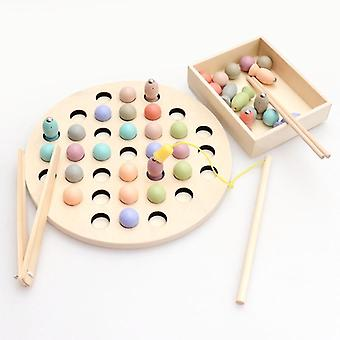 Wooden Montessori Toys Kids Early Learning Educational Toys - Clip Beads Magnetic Fishing Game Teaching Aids Toy For Children Gift