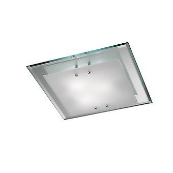 inspirert deco - mira - flush tak, 400mm kvadrat, 3 lys e27 polert krom
