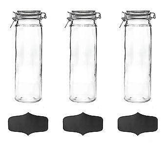 Glass Spaghetti Jars with Airtight Clip Lid and Chalkboard Stickers - 2 Litre Set - White Seal - Pack of 3