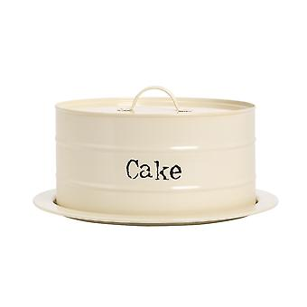Industrial Cake Storage Tin with Dome - Vintage Style Steel Display Stand Plate with Cover - Cream