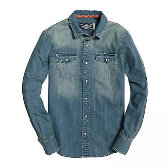 Superdry Resurrection L/S Denim Shirt Mid Blue F3S